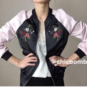 Satin floral embroidered BOMBER jacket